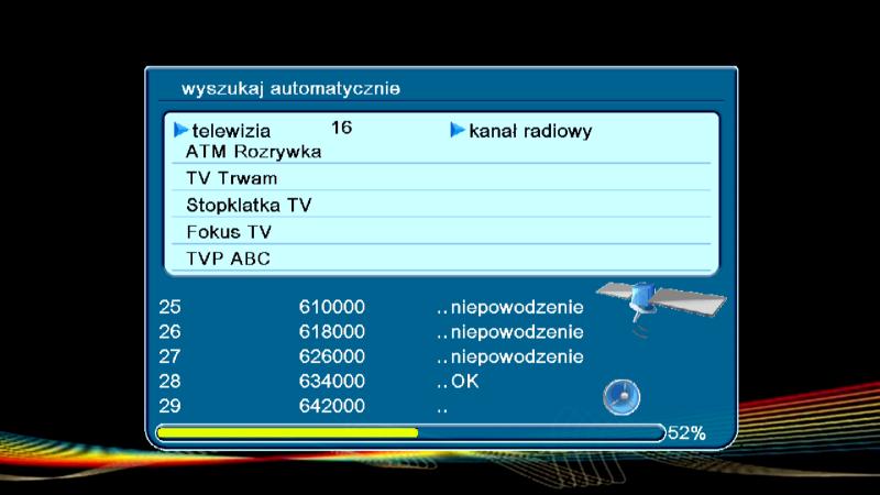 Wyszukiwanie kanałów DVB-T w dekoderze Ferguson Ariva T50